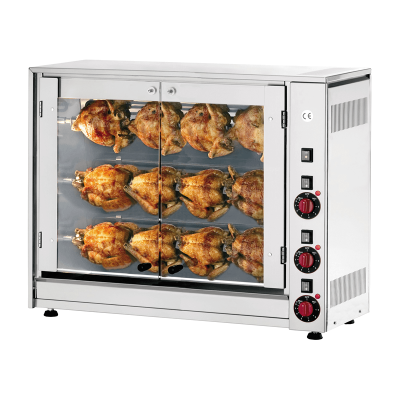Electrical chicken-spit with single spits movement CB E-12P-S3