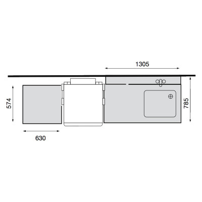 Pre Wash Inlet Table to the Passthrough Dishwasher, width 1305 mm